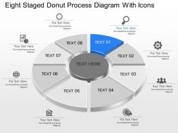 Lh Eight Staged Donut Process Diagram With Icons Powerpoint Template Slide