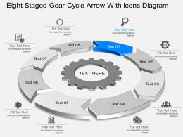 Li Eight Staged Gear Cycle Arrow With Icons Diagram Powerpoint Template Slide