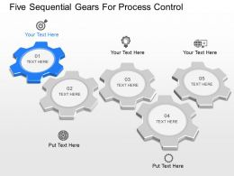 li Five Sequentail Gears For Process Control Powerpoint Template
