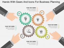 li Hands With Gears And Icons For Business Planning Flat Powerpoint Design