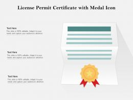 License Permit Certificate With Medal Icon