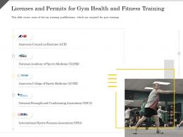 Licenses And Permits For Gym Health And Fitness Training Ppt Powerpoint Presentation Infographic Skills