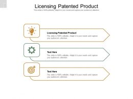 Licensing Patented Product Ppt Powerpoint Presentation Show Slides Cpb