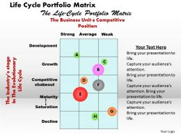 Life Cycle Portfolio Matrix Powerpoint Presentation Slide Template