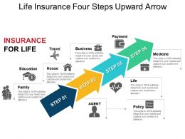 Life Insurance Four Steps Upward Arrow