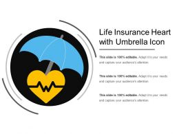 Life Insurance Heart With Umbrella Icon