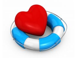 Life Saving Ring With Heart Depicting Safety And Health Stock Photo