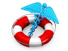 Life Saving Ring With Medical Symbol On White Background Stock Photo