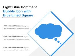 Light Blue Comment Bubble Icon With Blue Lined Square