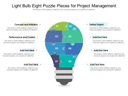 Light Bulb Eight Puzzle Pieces For Project Management