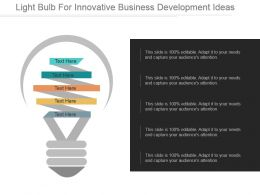 Light Bulb For Innovative Business Development Ideas Ppt Example 2017