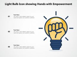Light Bulb Icon Showing Hands With Empowerment