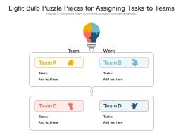 Light Bulb Puzzle Pieces For Assigning Tasks To Teams
