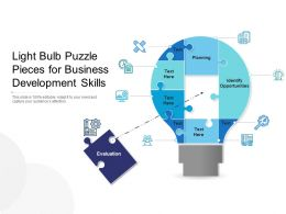 Light Bulb Puzzle Pieces For Business Development Skills