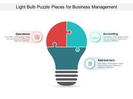 Light Bulb Puzzle Pieces For Business Management