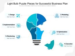 Light Bulb Puzzle Pieces For Successful Business Plan