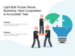 Light Bulb Puzzle Pieces Illustrating Team Cooperation To Accomplish Task