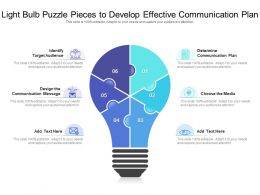 Light Bulb Puzzle Pieces To Develop Effective Communication Plan