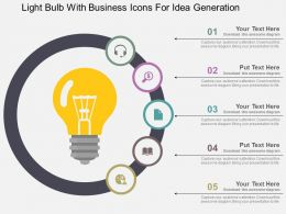 Light Bulb With Business Icons For Idea Generation Flat Powerpoint Design