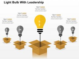 Light Bulb With Leadership Flat Powerpoint Design