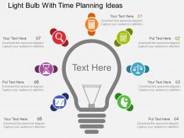 Light Bulb With Time Planning Ideas Flat Powerpoint Design