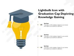 Lightbulb Icon With Graduation Cap Depicting Knowledge Gaining