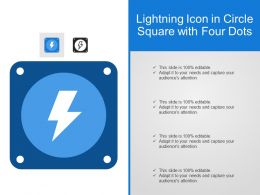 Lightning Icon In Circle Square With Four Dots