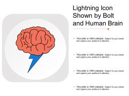 Lightning Icon Shown By Bolt And Human Brain