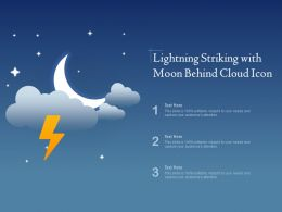 Lightning Striking With Moon Behind Cloud Icon