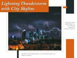 Lightning Thunderstorm With City Skyline