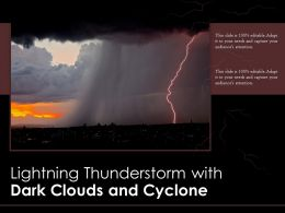 Lightning Thunderstorm With Dark Clouds And Cyclone