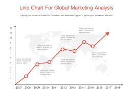 Line Chart For Global Marketing Analysis Powerpoint Slides