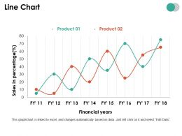 Line Chart Ppt Summary Icon