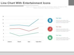 Line Chart With Entertainment Icons Month Based Analysis Powerpoint Slides