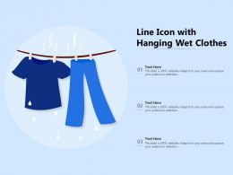 Line Icon With Hanging Wet Clothes