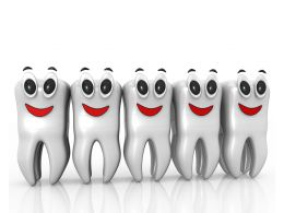 Line Of Teethes With Smiley Face Stock Photo