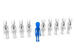 Line Of White 3D Men With One Blue Man Showing Leadership Stock Photo