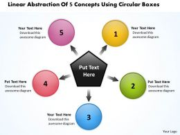 linear abstraction of 5 concepts using circular boxes Motion Process PowerPoint Slides