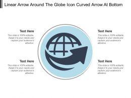 Linear Arrow Around The Globe Icon Curved Arrow At Bottom