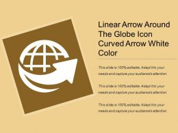 Linear Arrow Around The Globe Icon Curved Arrow White Color