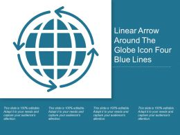 Linear Arrow Around The Globe Icon Four Blue Lines