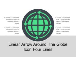 Linear Arrow Around The Globe Icon Four Lines
