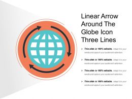 Linear Arrow Around The Globe Icon Three Lines