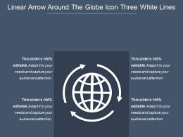 Linear Arrow Around The Globe Icon Three White Lines