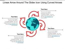 Linear Arrow Around The Globe Icon Using Curved Arrows