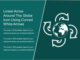 Linear Arrow Around The Globe Icon Using Curved White Arrows