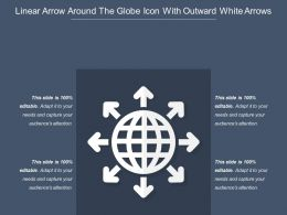 Linear Arrow Around The Globe Icon With Outward White Arrows