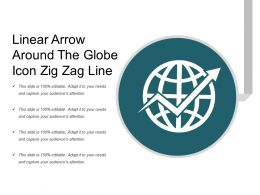Linear Arrow Around The Globe Icon Zig Zag Line