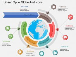 Linear Arrow Cycle Globe And Icons Ppt Presentation Slides