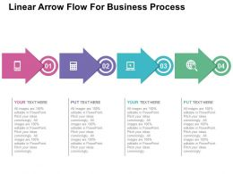 Linear Arrow Flow For Business Process Flat Powerpoint Design